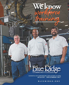 "Caption: ""We know workforce training."" CE Course Catalog Cover Fall 2017"