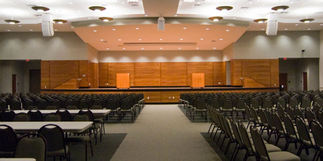 Blue Ridge Conference Hall interior with tables and seats