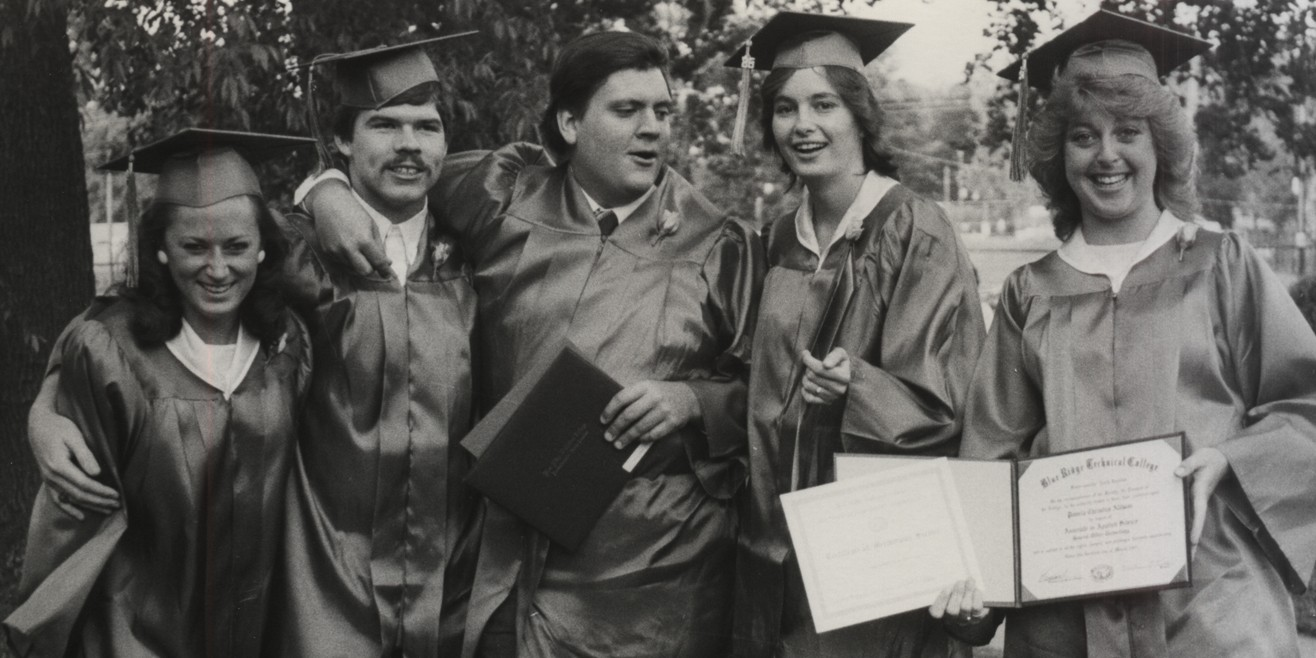 Historical graduation photo of students