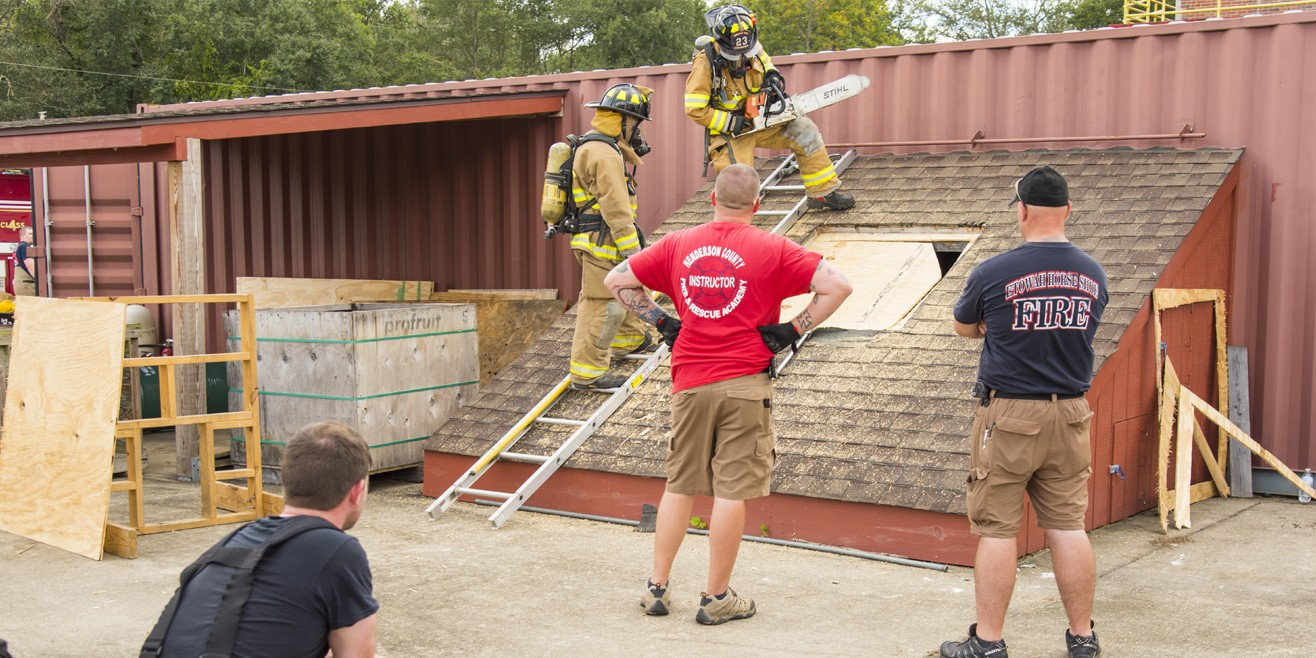 Fire personnel rooftop exercise