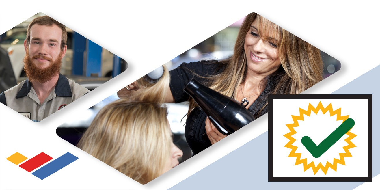 Photo montage: automotive student, cosmetology student blow drying hair, certification check icon