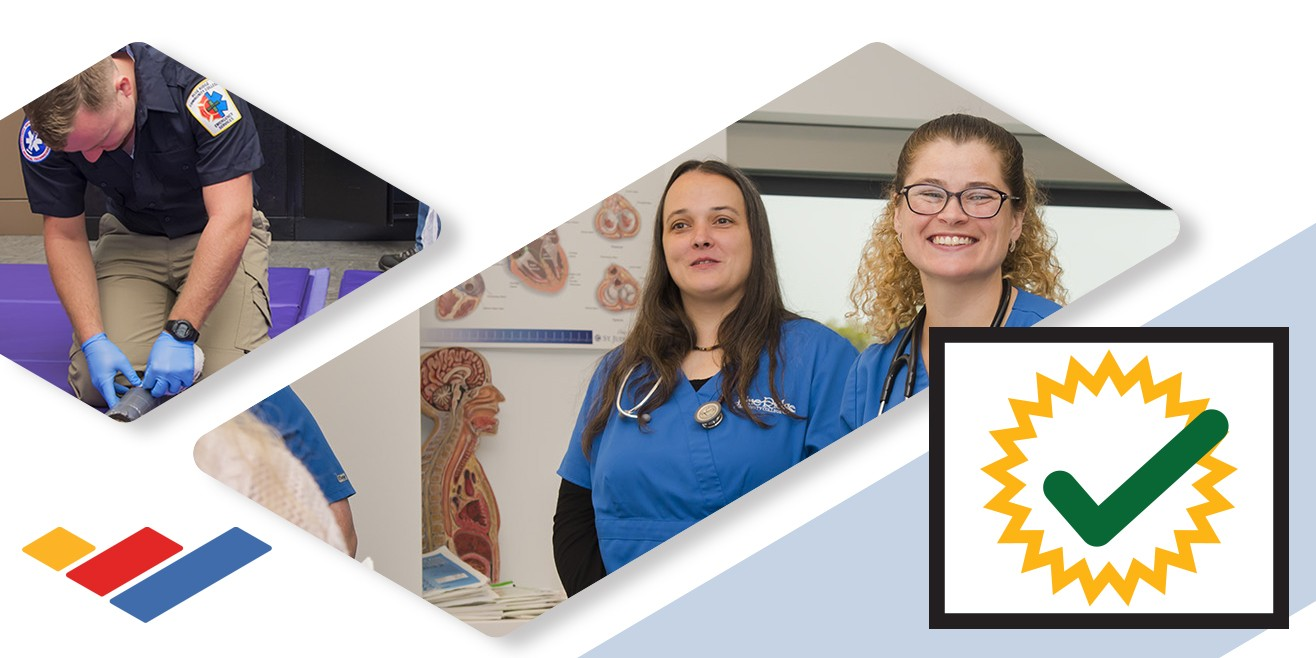 Photo montage: emergency services student working, smiling nursing students, certification check icon