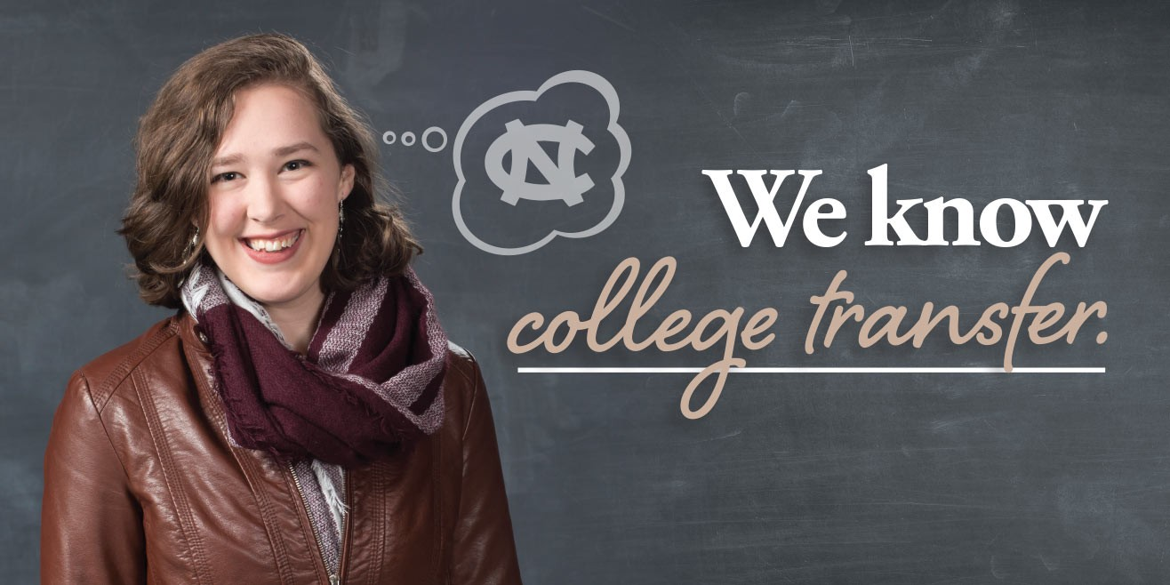 """Caption: """"We know college transfer."""" college transfer student with thought bubble"""