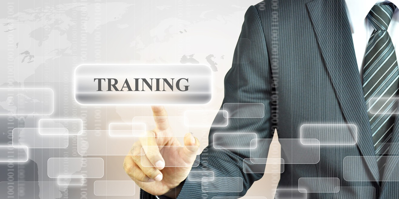 man with abstract image and the word training