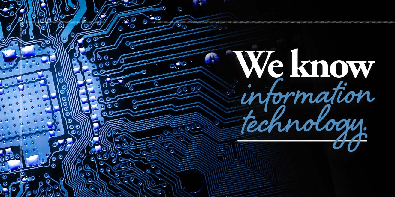 """Caption: """"We know information technology."""" computer circuitry up close"""