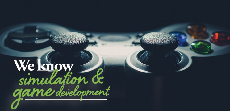 video gaming console up close; caption: We know simulation & game development.