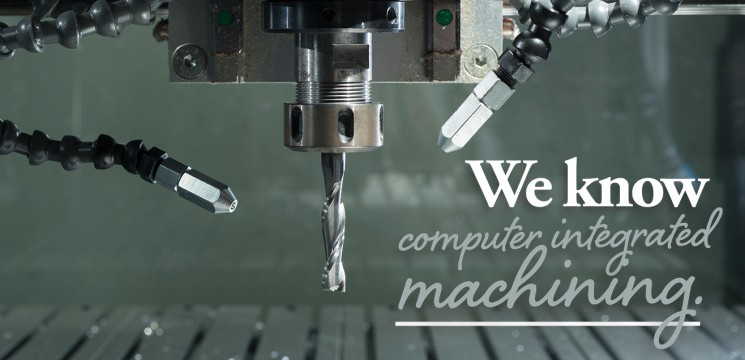 machining equipment up close; caption: We know computer integrated machining.